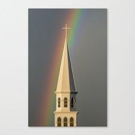 Rainbow & Steeple (Just outside my window) Canvas Print