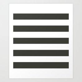 Black olive - solid color - white stripes pattern Art Print