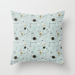 Space ships Animals Prints patterns Throw Pillow