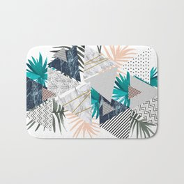 Abstract of geometric patterns with plants and marble II Bath Mat