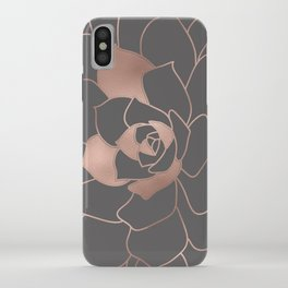 Rosegold  blossom on grey - Pink metal - effect flower iPhone Case