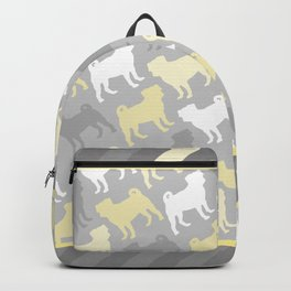 Grey and Yellow Pugs Pattern Backpack