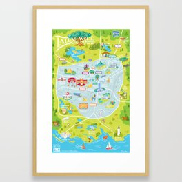 Illustrated Map of Tallahassee Framed Art Print