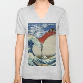 Mt. Fuji and the Wave Unisex V-Neck