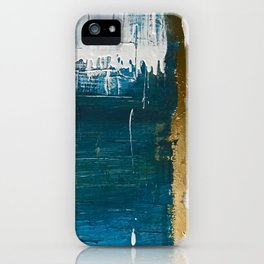 Rain [3]: a minimal, abstract mixed-media piece in blues, white, and gold by Alyssa Hamilton Art iPhone Case