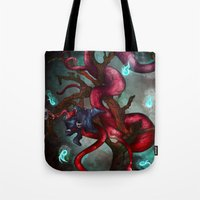 soul eater Tote Bags featuring Soul eater Tree by Sampsonknight
