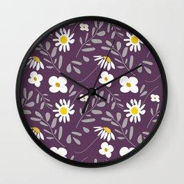 Fun Folk Floral Deep Purple. Wall Clock