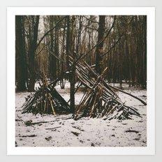 Shelter in snowy woodland. Norfolk, UK. Art Print