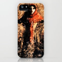 Red scarf on head iPhone Case
