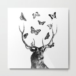 The Stag and Butterflies | Black and White Metal Print