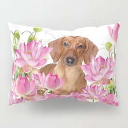 Dog in Field of Lotos Flower Pillow Sham