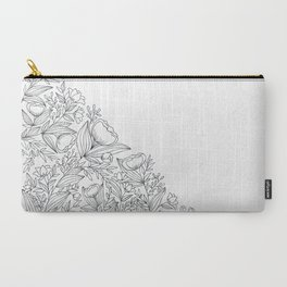 Flowery Corner Florals - Black and White Carry-All Pouch