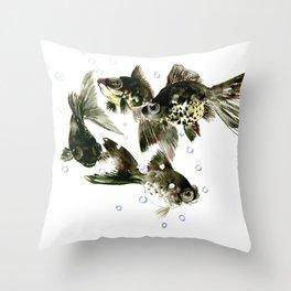 Fish Black Moor Black aquarium fish design fish home decor feng shui Throw Pillow