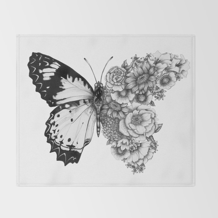 Butterfly in Bloom Throw Blanket