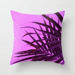 Pink Palm Tree Leaves Throw Pillow