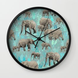 Sweet Elephants in Soft Teal Wall Clock
