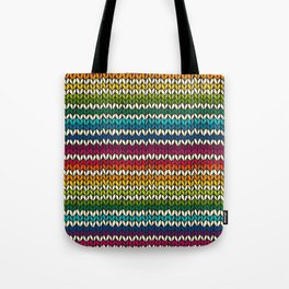 Rainbow knitted stripes Tote Bag