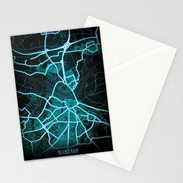 Nijmegen, Netherlands, Blue, White, Neon, Glow, City, Map Stationery Cards