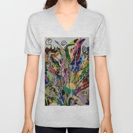 Color splash flower Feelings nature fantasy  Unisex V-Neck