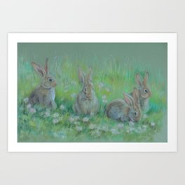 RABBITS IN A SPRING MEADOW Wildlife pastel drawing Art Print