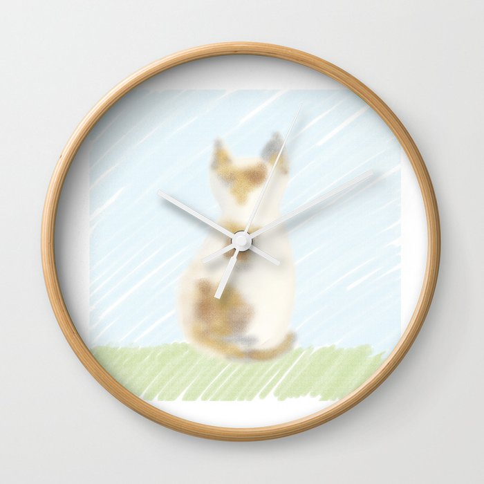 A cute calico cat Wall Clock