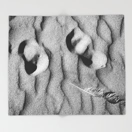 Footprints In Sand With A Seagull Feather Throw Blanket