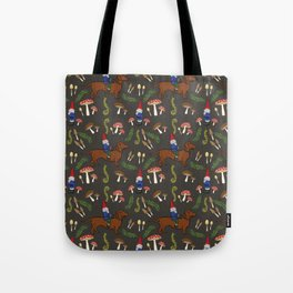 GNOME & DACHSHUND IN THE MUSHROOM FOREST/SOFT BLACK BACKGROND Tote Bag