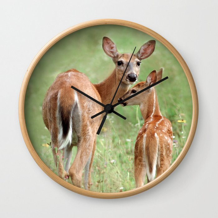 Mother's Love - White-Tailed Deer with Her Fawn Wall Clock