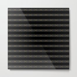 Modern Black Silver Grey Gold Pattern Metal Print