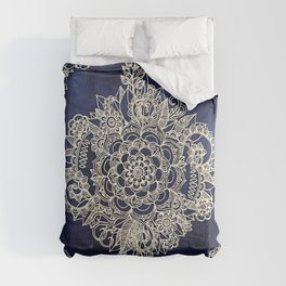 Cream Floral Moroccan Pattern on Deep Indigo Ink Comforters