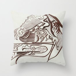 Encre brun Throw Pillow