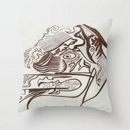 Encre brun Throw Pillow