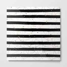 Vintage Black and White Stripes Gold Geometric Pattern Metal Print