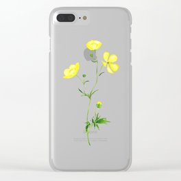 yellow buttercup flower watercolor Clear iPhone Case
