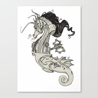 steam punk Canvas Prints featuring Steam Punk Horse  by FlyingFrogIllustration