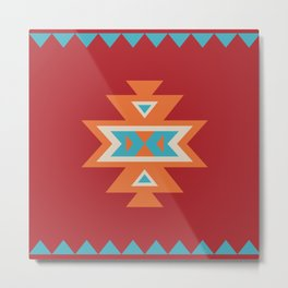 Navajo Aztec Pattern Orange Turquoise on Red Metal Print