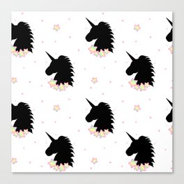 cute cartoon patern wih black unicorn silhouette with rainbow stars Canvas Print