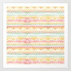 Modern pastel hand drawn watercolor aztec pattern Art Print