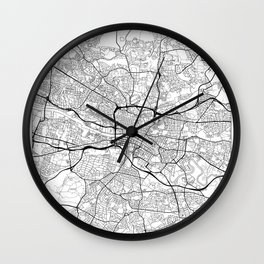 Glasgow Map White Wall Clock