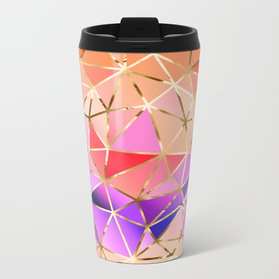 Rainbow Geometric pattern #4 Metal Travel Mug