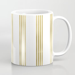 Simply luxury Gold small stripes on clear white - vertical pattern Coffee Mug