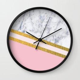 St Lucia striped blush marble Wall Clock