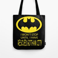 gotham Tote Bags featuring Gotham City by Veronica Ventress