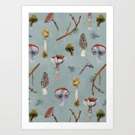 Mushroom Forest Party Art Print