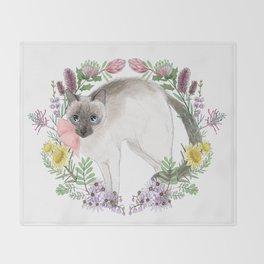 Pixie the Chocolate Siamese Cat Throw Blanket