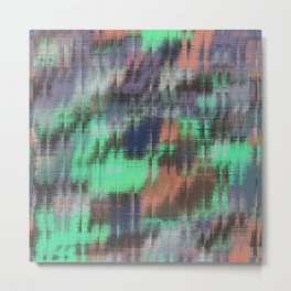 psychedelic geometric abstract pattern in green purple pink Metal Print