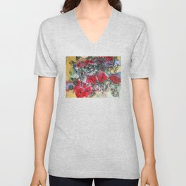 Red poppies and other flowers Unisex V-Neck