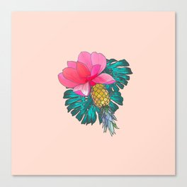 Tropical Summer Watercolor Pink Green Yellow Floral Canvas Print