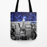 new york city Tote Bags featuring new york city. Blue Stars by 2sweet4words Designs
