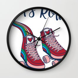Let's Roll! Rainbow Roller Skates Pink Wheels Red Heart Tee Wall Clock